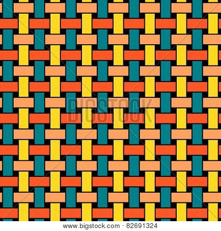 Colored wicker seamless pattern. Endless abstract background