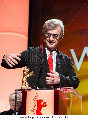 BERLIN, GERMANY - FEBRUARY 12: Wim Wenders receives the Honorary Golden Bear for his lifetime achievement. 65th Berlin Film Festival at Berlinale Palace on February 12, 2015 in Berlin, Germany