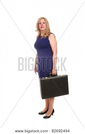mature business woman with a briefcase isolated on white with room for your text