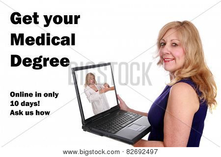 A mature woman gets her medical degree online with her laptop in 10 days. isolated on white with room for your text. text is easily removed and replaced with your own