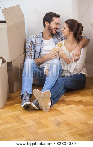Cute couple toasting with champagne on floor in their new home