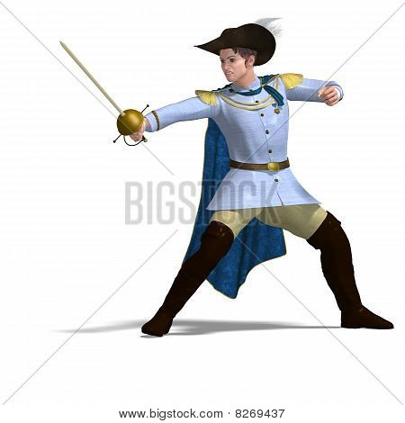 fairytale prince with sword and