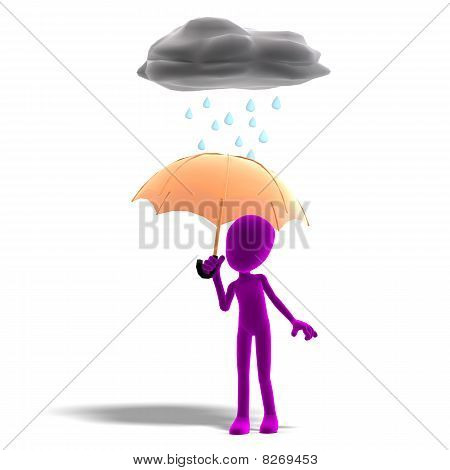 3d male icon toon character standing in the rain