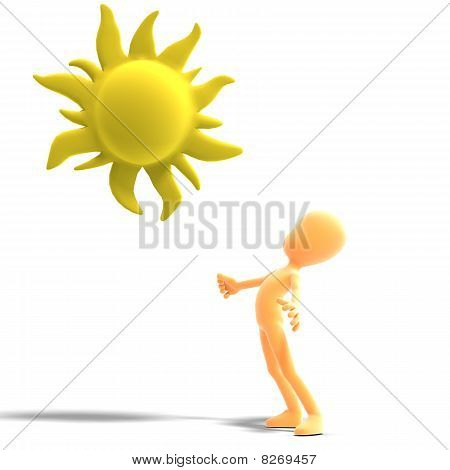 3d male icon toon character standing in the