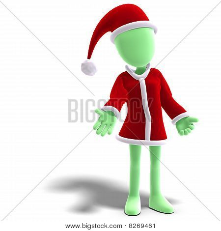 3d male icon toon character as Santa