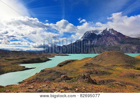 National Park Torres del Paine, Patagonia, Chile.  Emerald waters of Lake Pehoe at rocks Los Kuernos