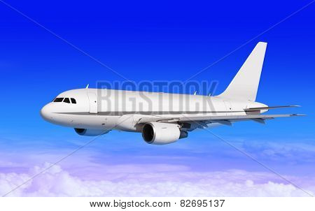 cargo plane on blue sky with white clouds