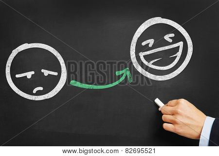 Hand drawing unhappy and happy smileys on blackboard