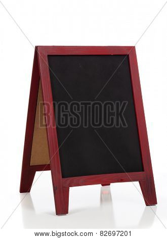 A blank chalkboard or blackboard easel on a white background