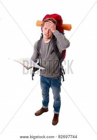 Young Backpacker Tourist Looking Map In Stress Lost And Confused Carrying Big Backpack