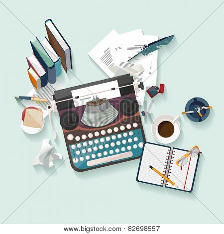 Workplace writer. Flat design.