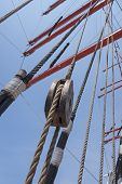 picture of sailing vessel  - Mast and guy cables of sailing vessel - JPG
