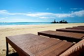 foto of recliner  - Beach view with recliner in Boracay Island in the Philippines - JPG
