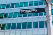 stock photo of broadway  - Broadway street sign Lower Manhattan New York City NYC USA - JPG