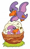 picture of pterodactyl  - Cartoon pterodactyl mom and baby  - JPG