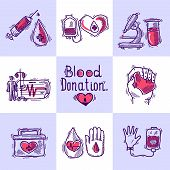 image of hemoglobin  - Donor design concept set with blood and organ donation sketch icons isolated vector illustration - JPG