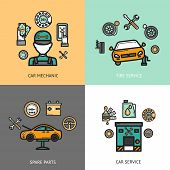 pic of lubricant  - Auto service design concept set with car mechanic tire service spare parts flat icons isolated vector illustration - JPG