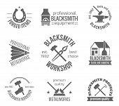 foto of blacksmith shop  - Blacksmith workshop equipment and professional metalworks label set isolated vector illustration - JPG