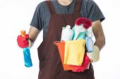 stock photo of house cleaning  - Portrait of man with cleaning equipment ready to clean house - JPG
