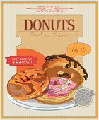 pic of donut  - Vintage donuts poster with label - JPG