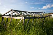 picture of sag  - old abandoned shack overgrown by green grass - JPG