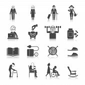 image of wheelchair  - Senior lifestyle black icons set with old people with walkers glasses wheelchair isolated vector illustration - JPG