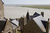 stock photo of mont saint michel  - houses inside the mont saint michel in the north of france - JPG