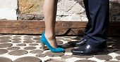 stock photo of wet feet  - Couple kissing  - JPG