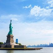stock photo of statue liberty  - Statue of Liberty New York Manhattan background USA US - JPG