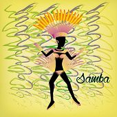 picture of brazilian carnival  - a colored background with a woman in bikini and ornaments for carnival - JPG