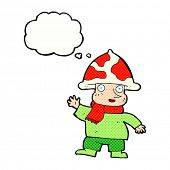 picture of magical-mushroom  - cartoon mushroom man with thought bubble - JPG