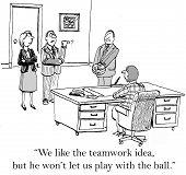image of won  - Cartoon of two team members saying to business boss - JPG