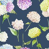 stock photo of hydrangea  - Beautiful watercolor vector hydrangea pattern different colors - JPG