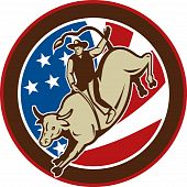 pic of bull-riding  - illustration of a Rodeo cowboy bull riding with stars and stripes in the background - JPG