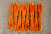 picture of butternut  - Butternut squash sliceses ready for roasting horizontal - JPG