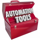 image of productivity  - Automation Tools 3d letters form word in red metal toolbox to illustrate modern technology to help you increase efficiency and productivity - JPG