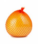 stock photo of pomelo  - The pomelo fruit wrapped in plastic reticle on white background - JPG