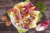 foto of chicory  - chicory salad with cheese and walnut - JPG