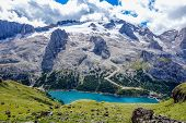 picture of lagos  - Lago di Fedaia and Marmolada in the Dolomites mountains of northern Italy - JPG