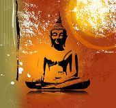 pic of divine  - Buddha silhouette in lotus position against colorful grunge background - JPG