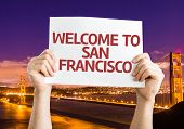 picture of golden gate bridge  - Welcome to San Francisco card with Golden Gate Bridge background - JPG