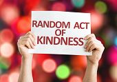 image of kindness  - Random Act of Kindness card with colorful background with defocused lights - JPG