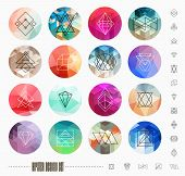 stock photo of pattern  - Abstract Geometric Patterns Set with Hipster Style Icons for Logo Design - JPG
