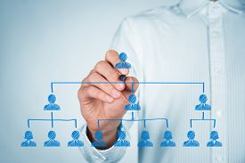 stock photo of leadership  - CEO leadership and corporate hierarchy concept  - JPG