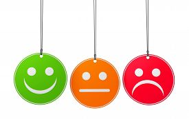pic of emoticon  - Customer service and product quality survey concept with three emoticon icons and symbol on round badges isolated on white background - JPG