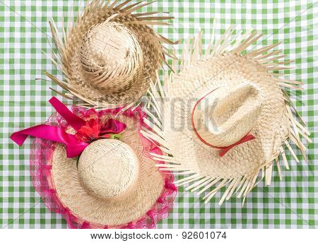 Group of Brazilian Straw Hat on the table (Festa Junina Theme)