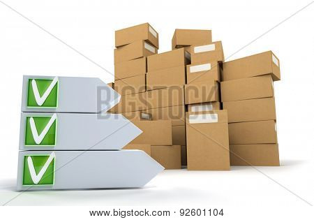 3D rendering of a pile of boxes with a customizable ticked checklist