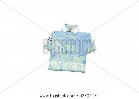 Euro bank notes shirt origami