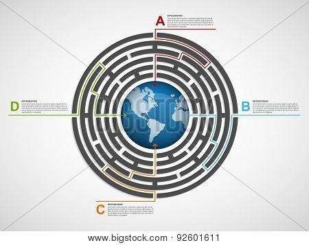 Circle Labyrinth Infographic Design Template.