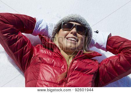 Overhead Shot Of Woman Having Fun On Winter Holiday